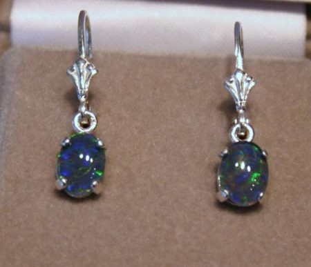 8x6 Idaho Opal Dangle Earrings