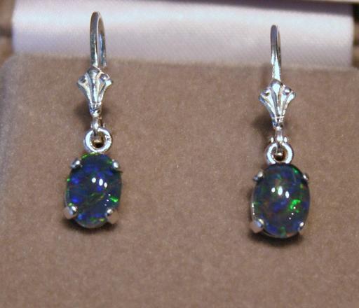 8x6 Idaho Opal Dangle Earrings