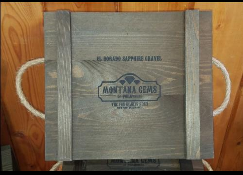 Montana Sapphire paydirt in reusable rustic gift box