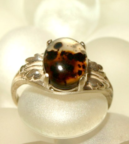 Montana Agate Ring with Leaf Setting