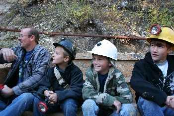 Kids in Yogo Mining cart