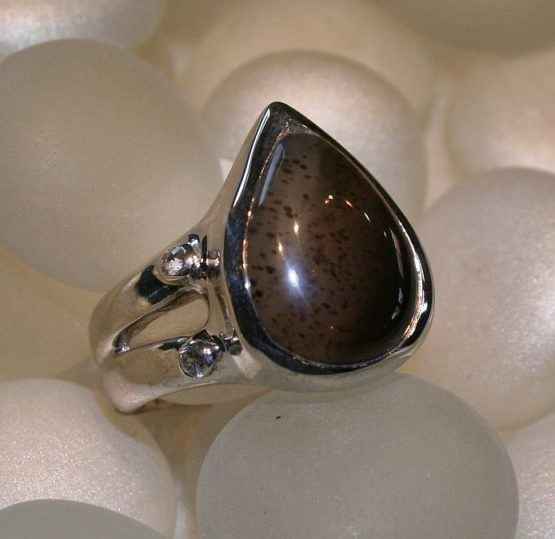 Teardrop Picture Agate Ring