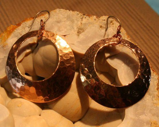 Circle Copper Dangle Earrings
