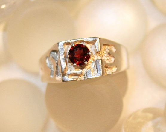 Wide Textured Band Garnet Ring