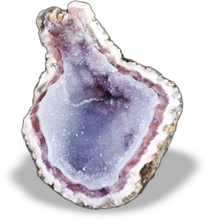 Known for their usually drab and almost ugly exterior while the inside contains a fun surprise - often a hollow pocket lined with crystals.