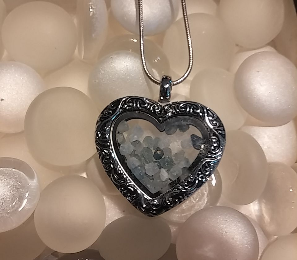Montana sapphires in vintage heart locket